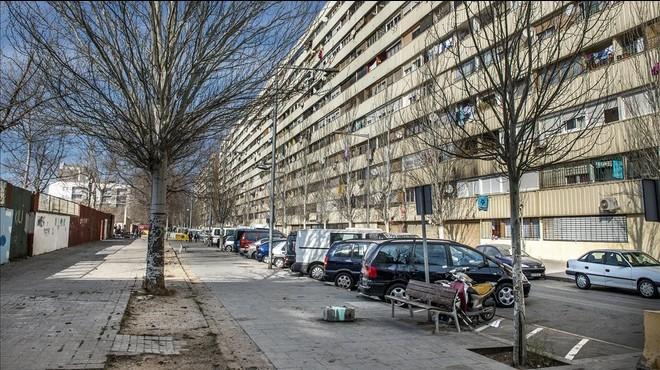 Calle solitaria en el barrio de la Mina, este mi�rcoles.