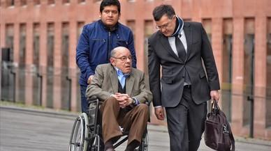 Félix Millet, entrado este viernes, a la Ciutat de la Justícia de Barcelona, donde se celebra el juicio por el saqueo del Palau de la Música.