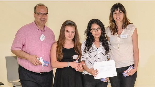 Los repesentantes del IES Bisbe Berenguer en la entrega de premios del BBVA.