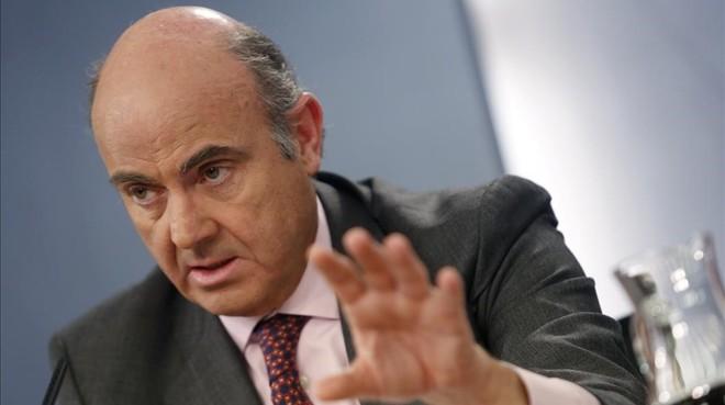 Luis de Guindos, en rueda de prensa, el pasado 20 de enero.