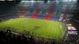 Un ambiente especial. Mosaico en las gradas del estadio barcelonista. 6 de diciembre del 2003.