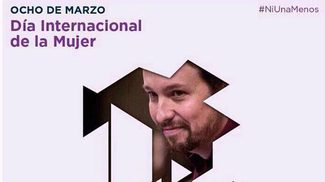 Pablo Iglesias, criticat per ser imatge de Podem el Dia Internacional de la Dona