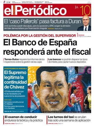 """""""El Banco de España responderá ante el fiscal"""", en la portada de EL PERIÓDICO"""
