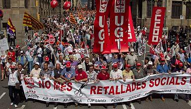 Manifestación en Barcelona contra los recortes de Artur Más. 14 de mayo