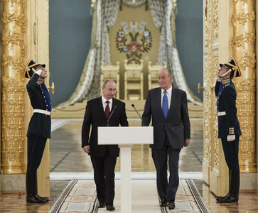 El Rey y Putin, en la sala de Alejandro del Gran Palacio del Kremlin.