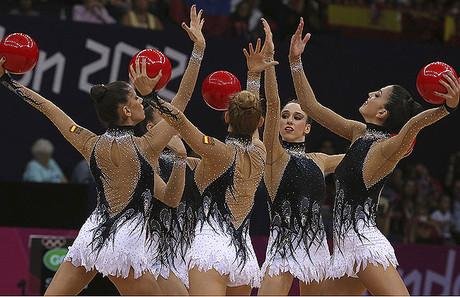 L'equip espanyol, durant la final de gimnàstica rítmica