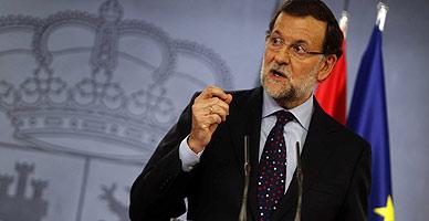 Mariano Rajoy, durante la rueda de prensa que ha ofrecido este jueves junto a la presidenta de Chile, Michelle Bachelet.