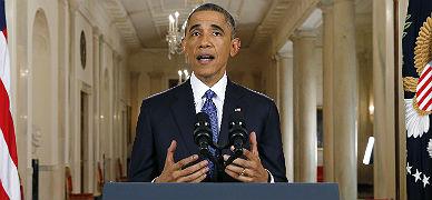 Obama, esta madrugada, durante su discurso en la Casa Blanca.