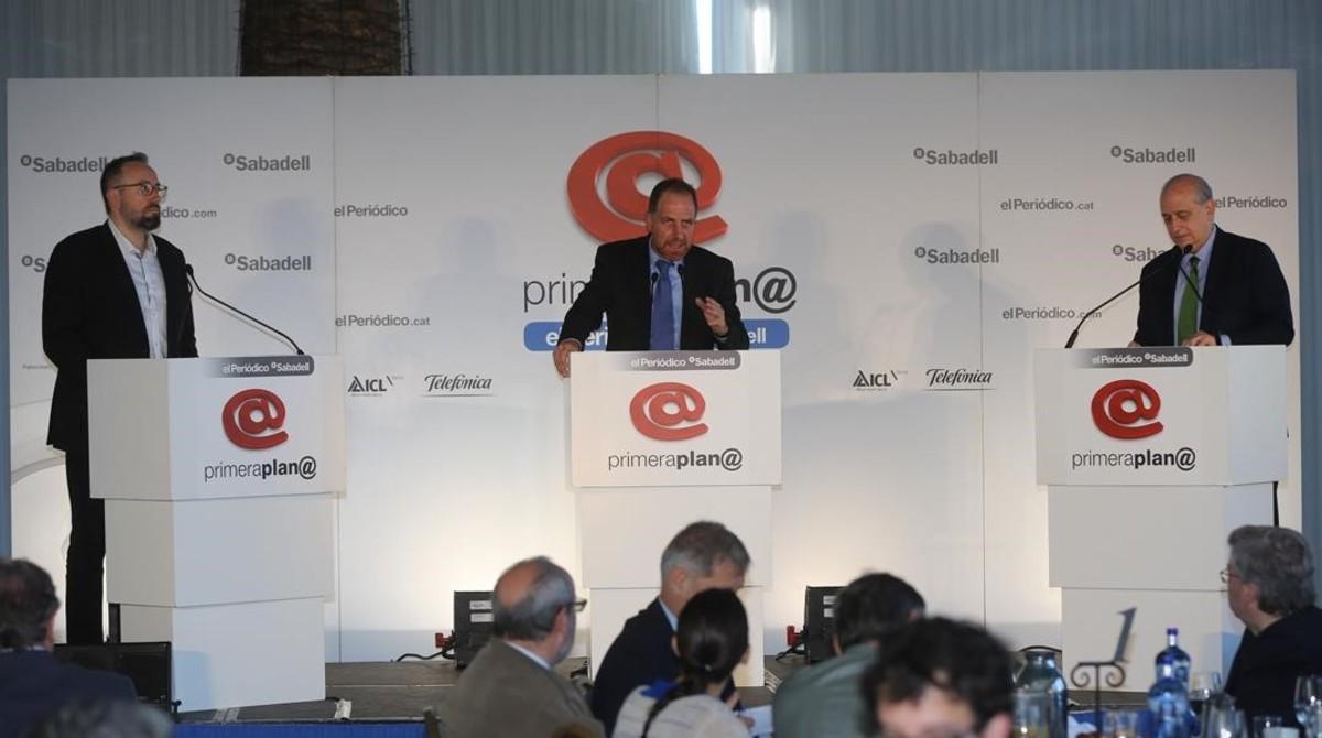 Juan Carlos Girauta y Jorge Fernández Díaz, en el debate de EL PERIÓDICO.