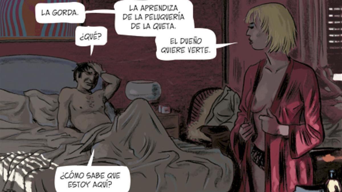 Viñeta de la adaptación al cómic de Tatuaje, primera novela de Vázquez Montalbán con Carvalho de protagonista.
