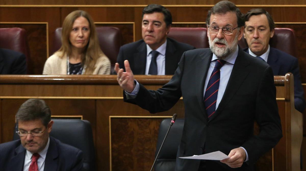 El presidente del Gobierno durante la sesión de control.