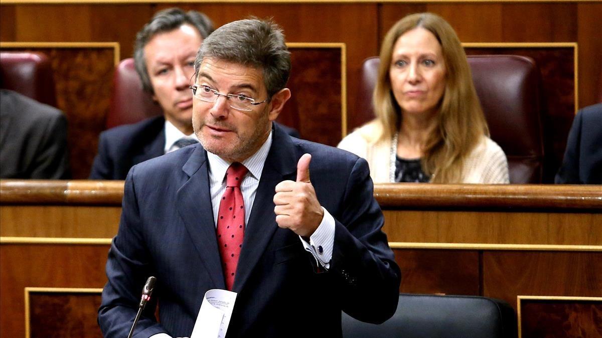 El ministro de Justicia, Rafael Catalá, este miércoles en el pleno del Congreso.