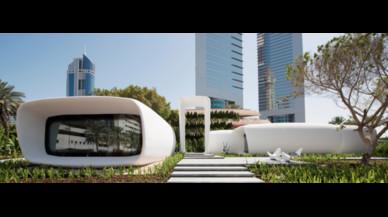 Edificio de oficinas inteligentes producido por una impresora 3D