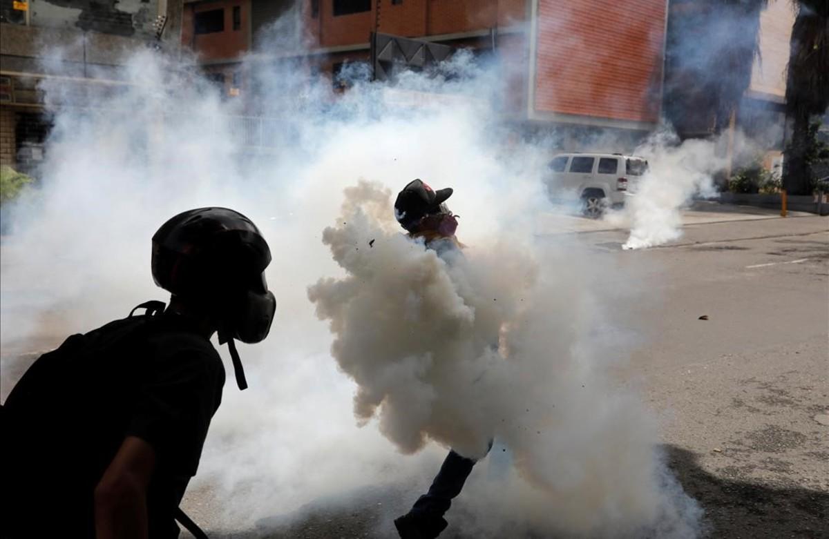 Manifestacióncontra el presidente Nicolás Maduro en Caracas, Venezuela.