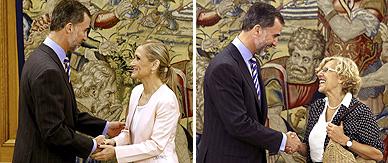 El Rey recibe a Cifuentes, derecha, y a Carmena en la Zarzuela.