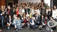 La foto de familia con el pelotón de autores en el céntrico hotel Regina de Barcelona.