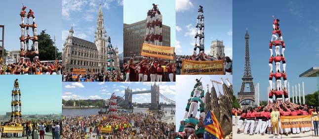 Catalans want to vote, castells en ocho capitales europeas para reclamar el derecho a decidir el próximo 9 de Noviembre. De izquierda a derecha y de arriba abajo: Ginebra, Bruselas, Berlín, Lisboa, París, Roma, Londres y Barcelona.