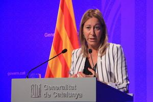 La vicepresidenta i portaveu del Govern, Neus Munté, durant la roda de premsa.