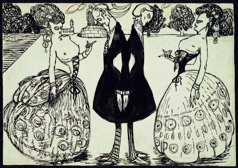 Ilustración satírica de Ismael Smith (hacia 1908), procedente del Museo Nacional de Arte Reina Sofía, en la exposición del MNAC.