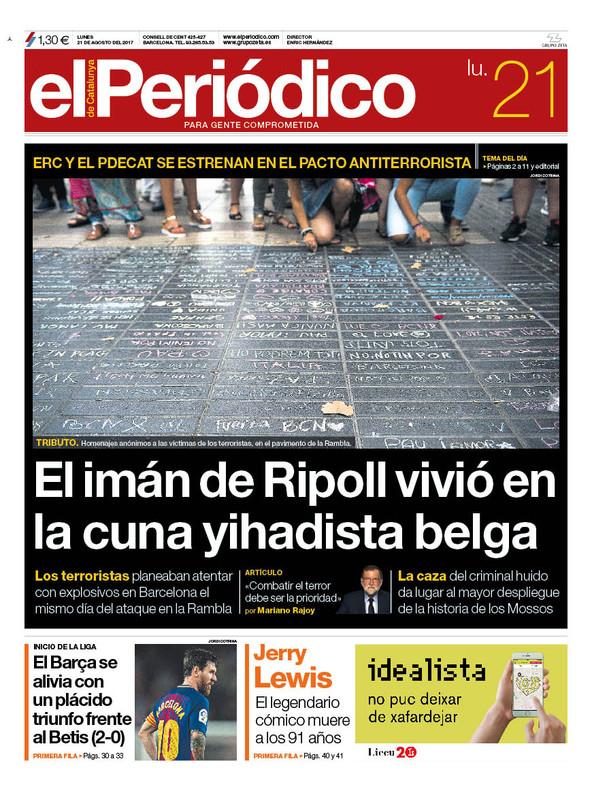 La portada de EL PERIÓDICO del 21 de agosto del 2017