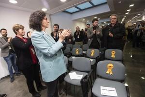 La secretaria general de ERC, Marta Rovira, antes de su intervención en consell nacional del partido.