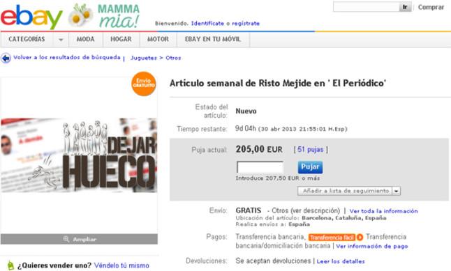 La página eBay retira la subasta del espacio de Risto Mejide en EL PERIÓDICO