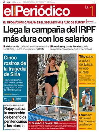 """""""Llega la campa�a del IRPF m�s dura con los salarios"""", en la portada de EL PERI�DICO DE CATALUNYA"""
