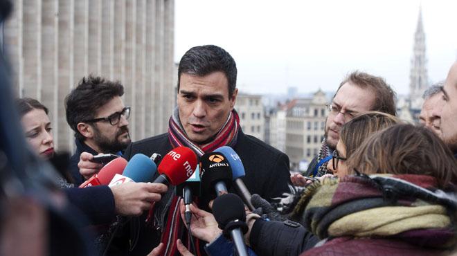 """S�nchez (PSOE) pide en Bruselas, al resto de partidos pol�ticos, que """"abandonen sus intereses partidistas""""."""