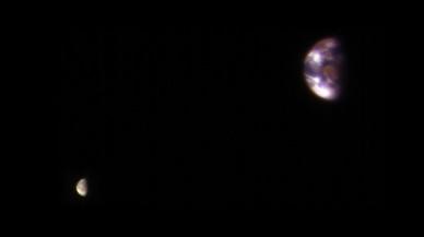 Así se ven desde Marte la Tierra y la Luna