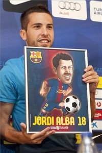 Jordi Alba en su presentacin como futbolista del F.C Barcelona.