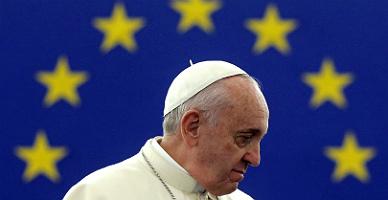 El papa Francisco, en el Parlamento Europeo, esta ma�ana.