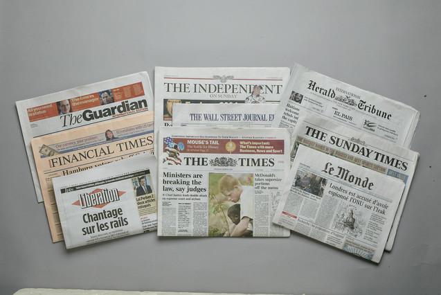 Cabeceras de la prensa internacional.