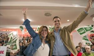 El líder del PSOE, Pedro Sánchez, y la presidenta de Andalucía, Susana Díaz, durante un acto en Jaén el pasado noviembre.