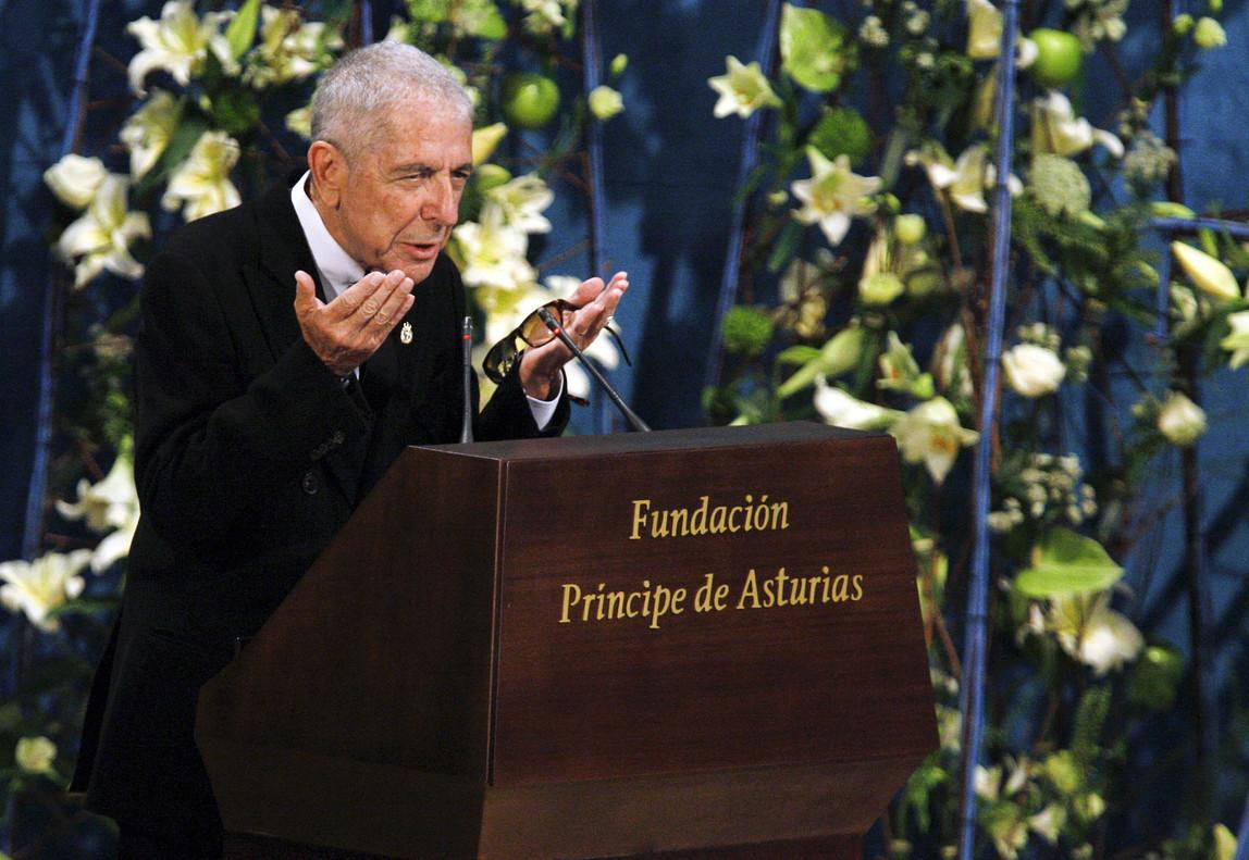 Cohen, tras ser galardonado con el Premio Príncipe de Asturias de las Letras, en octubre del 2011.
