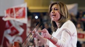 Susana Díaz, durante el acto de presentación de su candidatura, el pasado 26 de marzo.