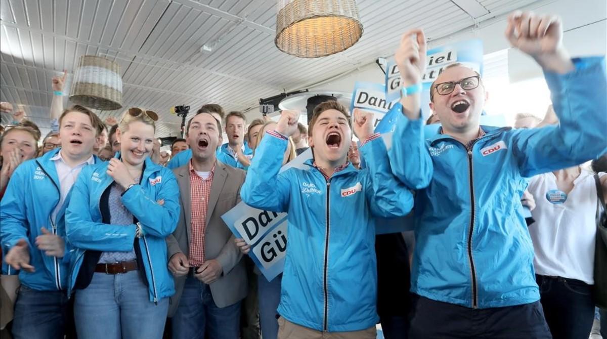 victoria de partido de merkel en Schleswig-Holstein
