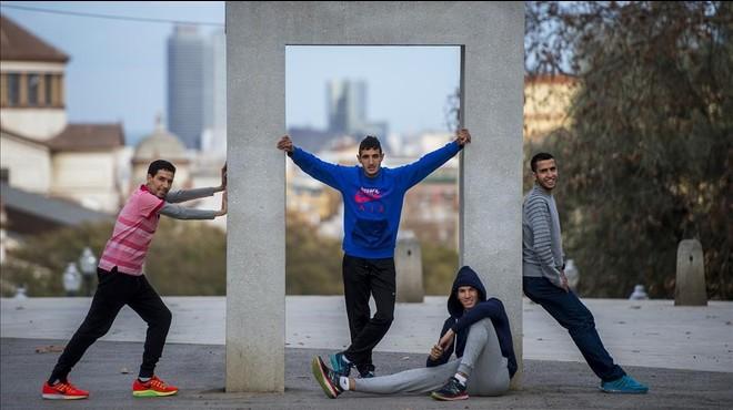 Atletas espa�oles de origen marroqu�, en Barcelona.