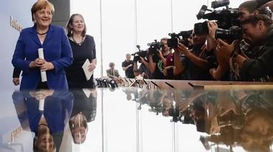 La cancillera Angela Merkel, tras la comparecencia en Berl�n.
