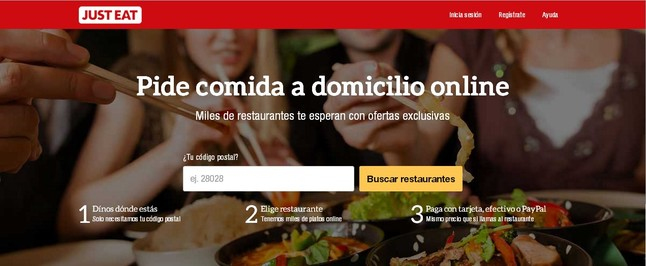Captura de la web de Just Eat.