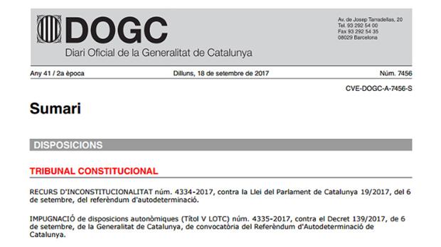 El DOGC publica la suspensió de la llei del referèndum 11 dies després