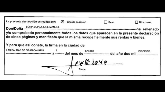 Aquesta és la declaració de béns que Soria va presentar al Congrés