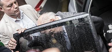 Jordi Pujol Soley, tras salir de su casa, esta mañana.