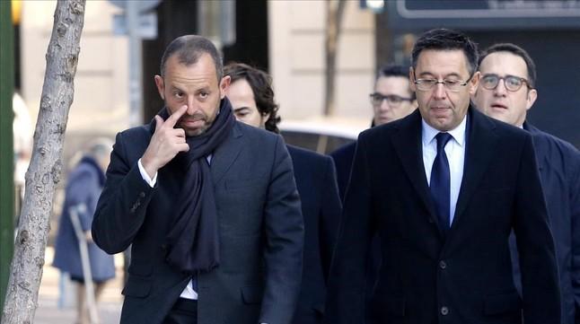 Sandro Rosell y Josep Maria Bartomeu, a su llegada a la Audiencia Nacional.