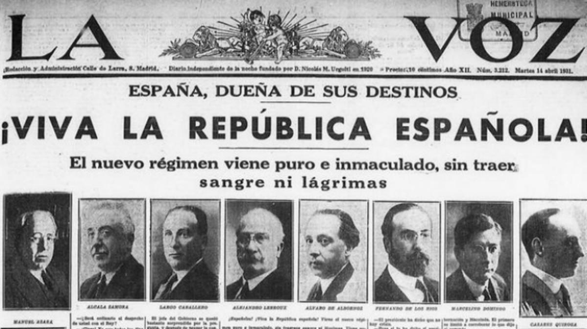 Portada del diario La Voz del 14 de abril de 1931 que el socialista José Antonio Pérez Tapias ha colgado en Twitter.