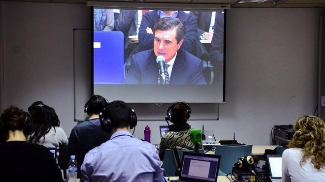 Imagen de Jaume Matas durante su declaraci�n, en el monitor instalado en la sala de prensa de la Escuela Balear de Administraci�n P�blica de Palma para seguir el juicio del 'caso N�os'.