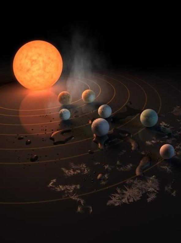 Resultado de imagen de Hallado un sistema solar de siete planetas con un tamaño similar a la Tierra