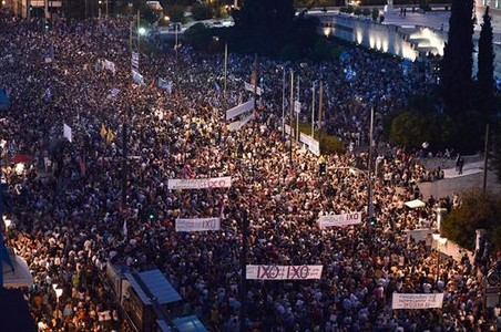 Manifestaci�n contra la austeridad, en la plaza Syntagma, este lunes.