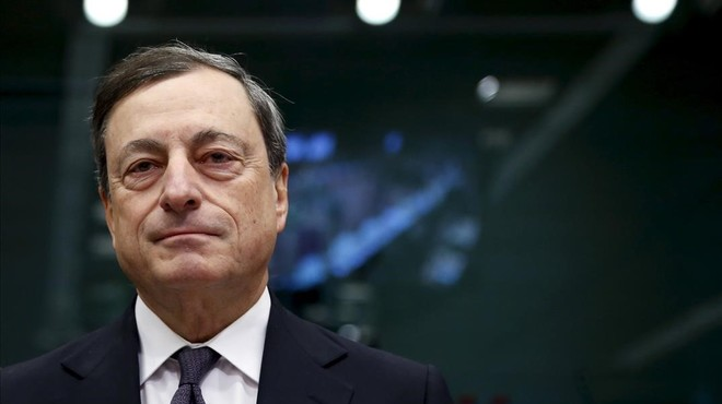 Mario Draghi, presidente del Banco Central Europeo, en la reuni�n de enero del Eurogrupo en Bruselas.