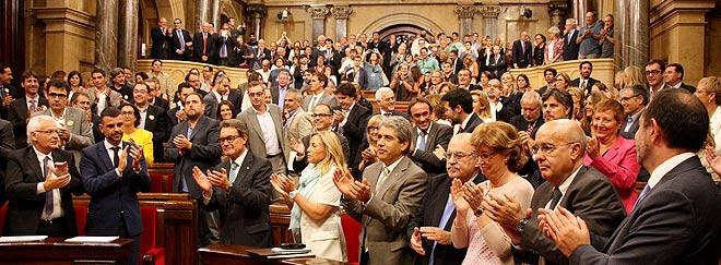 El hemiciclo del Parlament, tras el pleno en que se ha votado la ley de consultas.