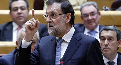 Rajoy, durante una sesi�n del Senado.